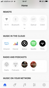 KEF Connect app showing source connectivity options