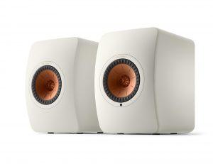 KEF LS50 Wireless II speaker in mineral white finish with copper-coloured Uni-Q cone.