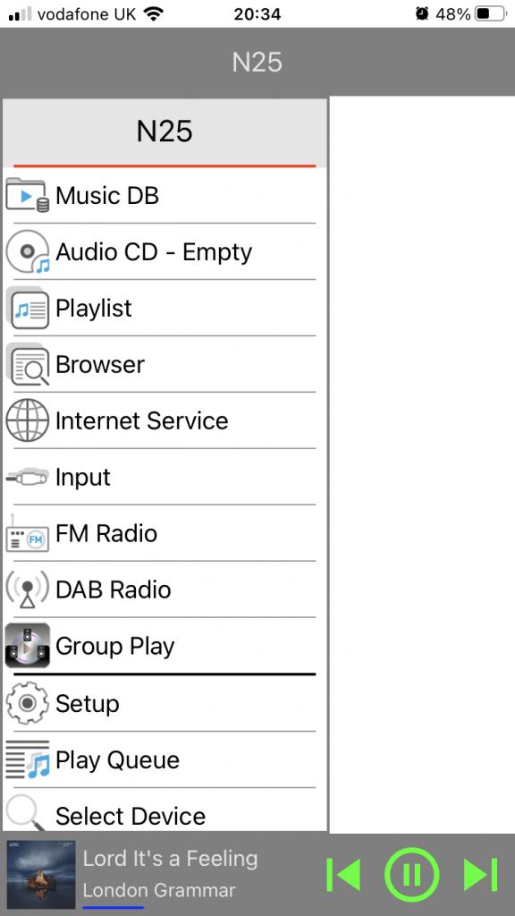 Novatron iOS menu view